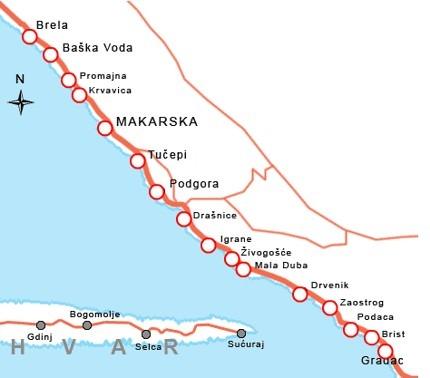 Makarska Riviera Map Makarska Info Com Croatia